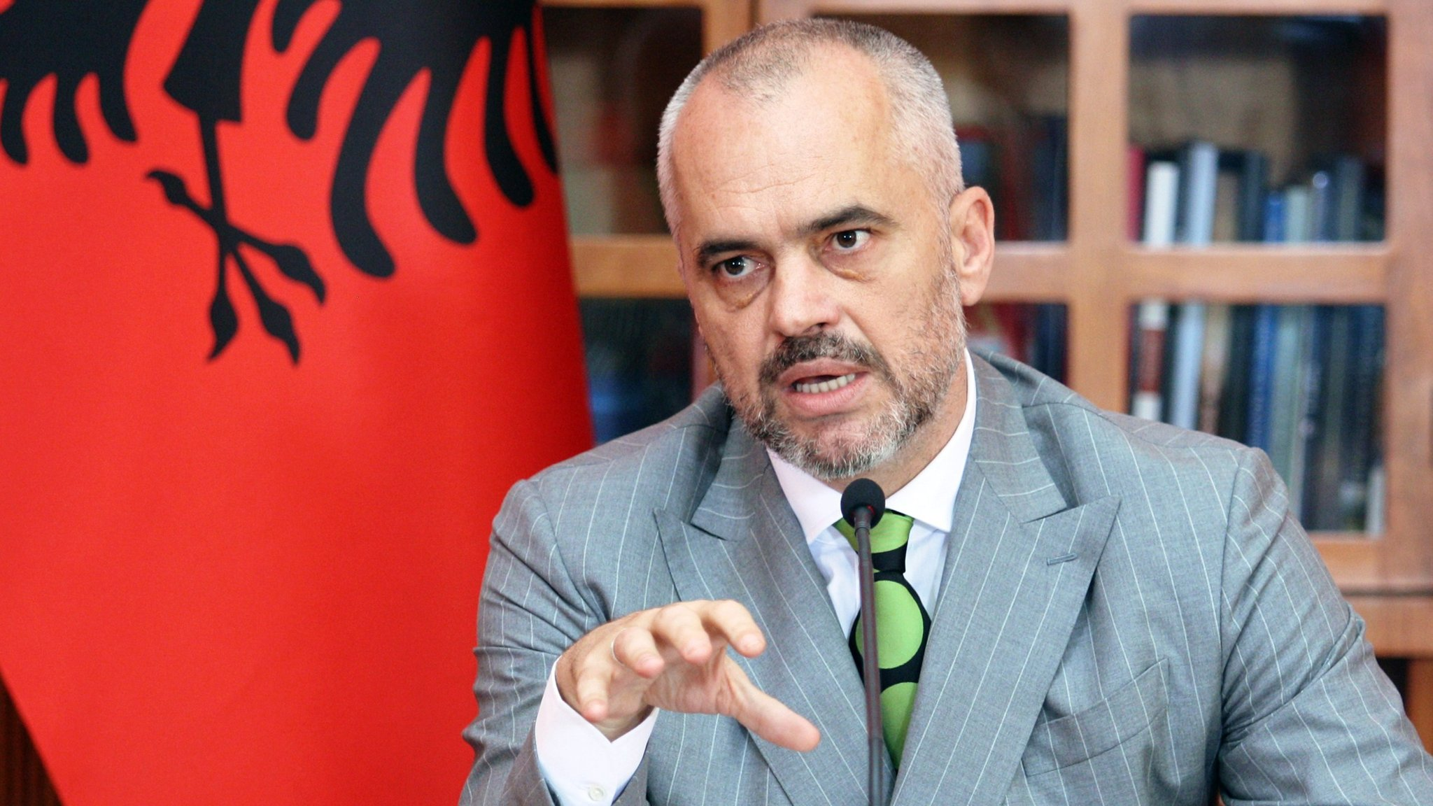 Albanian Prime Minister Edi Rama speaks during a press conference announcing the candidate status for Albania to the European Union in Tirana on June 24, 2014. Albania cleared the first hurdle on its long path to European Union membership on June 24, with the EU granting candidate status on the country's fourth try. Albania has failed to win the coveted status three times since 2009. AFP PHOTO / STRINGER        (Photo credit should read STRINGER/AFP/Getty Images)