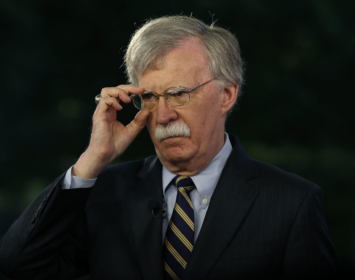 WASHINGTON, DC - MAY 09:  National Security Adviser John Bolton speaks on a morning television show from the grounds of the White House, on May 9, 2018 in Washington, DC. Yesterday President Donald Trump announced that America was withdrawing from the Iran nuclear deal.  (Photo by Mark Wilson/Getty Images)