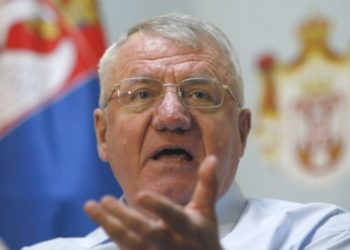 Serbia's extreme nationalist leader Vojislav Seselj speaks during a press conference in Belgrade, Serbia, Thursday, Dec. 7, 2017. Seselj says he won't attend an appeals hearing next week in his case before the Yugoslav war crimes tribunal. (AP Photo/Darko Vojinovic)