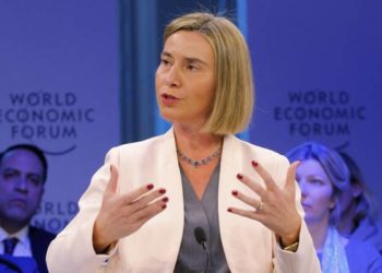 EU High Representative for Foreign Affairs Federica Mogherini speaks during a session on the third day of the annual meeting of the World Economic Forum in Davos, Switzerland, Thursday, Jan. 19, 2017. (ANSA/AP Photo/Michel Euler) [CopyrightNotice: Copyright 2017 The Associated Press. All rights reserved.]