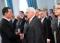 German President Frank-Walter Steinmeier (C) shakes hands with US ambassador to Germany Richard Allen Grenell (L) as German Foreign Minister Heiko Maas (R) looks on during a new year's reception of the German President on January 14, 2019 in Berlin. - A transatlantic tiff over Europe's natural gas supply came to the boil Sunday, January 13, 2019, as Donald Trump's ambassador to Germany Richard Grenell threatened firms involved in a pipeline from Russia with sanctions. (Photo by Bernd von Jutrczenka / dpa / AFP) / Germany OUT        (Photo credit should read BERND VON JUTRCZENKA/AFP/Getty Images)