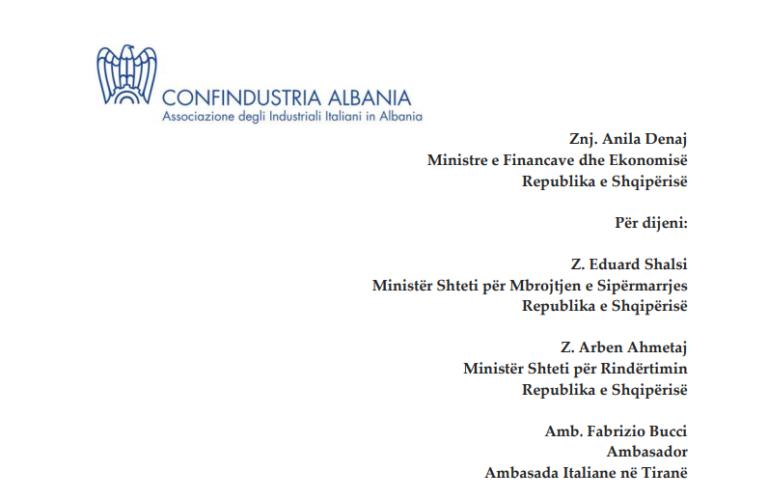 Industrialistët italianë letër Denaj  Deklarimi i Tatimit mbi Fitimin  mos na ngarkoni me penalitete për gabimet